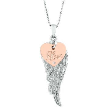 """.005 cttw Diamond Sterling Silver Angel Wing Pendant on an 18"""" Box Chain"""