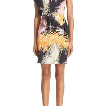Emilio Pucci Feather Print Ruffle Shoulder Jersey Dress | Nordstrom