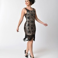 Unique Vintage 1920s Style Black & Copper Sequin Sidecar Fringe Flapper Dress