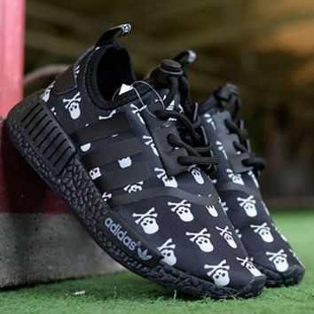 Adidas NMD R1 Reflective shoelace Fashion Casual Running Sports Shoes For Women and Men Black Yellow-1