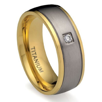 8MM Men's Titanium Ring Wedding Band 18K Gold-Plated with Round Cut CZ