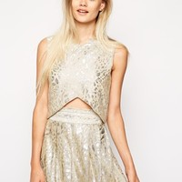 Sister Jane Crop Top in Metallic Animal Print - Silver