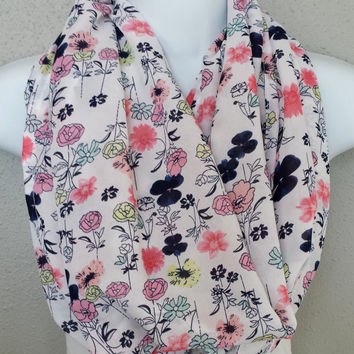Chiffon Pink Floral Fashion Infinity Scarf Womens Trending Spring Infinity Scarf Girls Bright Fashion Scarves Lightweight Floral Scarf