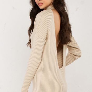 OPEN BACK RIBBED SWEATER DRESS in Beige