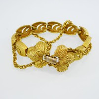 Brushed Gold Tone Bracelets, Rectangle Shape Links with Cut out Lines & Two Chains Leaves and Petals Clasp, Mid Century Vintage 1950s 1960s