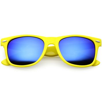 Modern Horn Rimmed Sunglasses Wide Arms Colored Mirror Square Lens 52mm