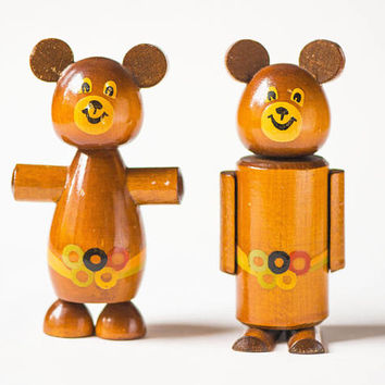 Vintage Mascot Misha figurines, wooden Bear Cub from Olympics games in Moscow souvenirs set 2, hand painted bears figurines 80s table decor
