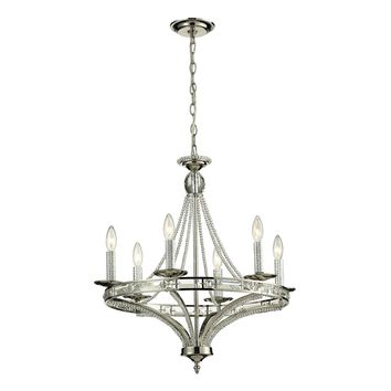 Aubree 6 Light Chandelier Polished Nickel Rectangular Crystals & Beads