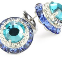 "Sorrelli ""Electric Blue"" Stacked Circular Stud Silver-Tone Earrings"