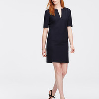 All-Season Stretch Split Neck Shift Dress | Ann Taylor