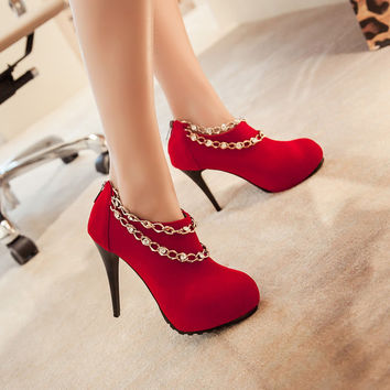 Rhinestone Chains Women Stiletto Heel Ankle Boots High Heels Wedding Shoes 9012