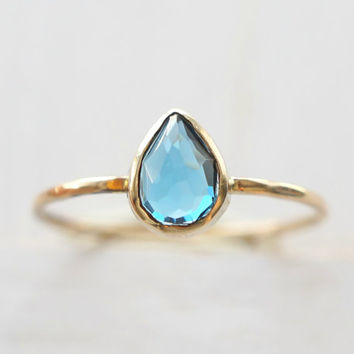 London Blue Topaz Ring, Pear Ring, Rose Cut Ring, 14k Gold Ring, Wedding Band, Baby Shower Gift, Custom Jewelry, Stacking Ring, all sizes
