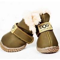 Olive Green Ivory Teddy Fur Lined Waterproof Winter Snow Pet Dog Boots
