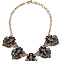 River Gem Gold and Purple Statement Necklace