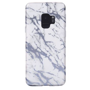 White Marble Blue Chrome Samsung Galaxy Case