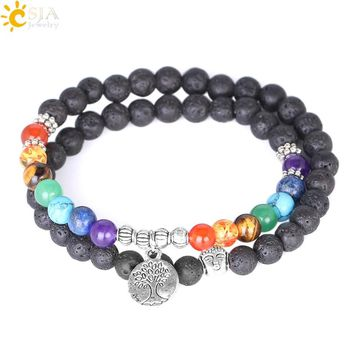 CSJA Women 7 Chakra Meditation Jewelry Natural Lava Rock Stone Beaded Bracelets Multilayers Life Tree Charm Strand Bracelet E871