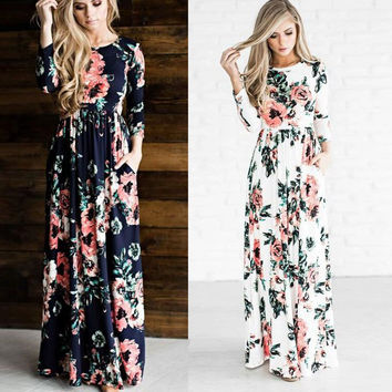 2017 New Summer Dress Women Rose Print Dresses O-Neck 3/4 Sleeve Tunic Long Dress Beach Maxi Dress Plus Size