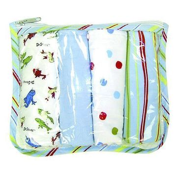 Gift Set - Dr. Seuss One Fish Two Fish Zipper Pouch And 4 Burp Cloths