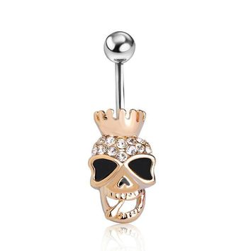 Skull Crown Gothic Body Piercing Navel Belly Button Ring