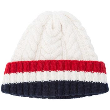 DCCKIN3 Thom Browne Aran Cable Hat With Red, White And Blue Hem Stripe In White Cashmere