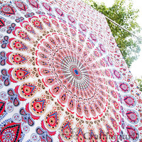Bohemian Tapestry Twin Mandala Bedspread Hippie Bedding Beach Throw White Ceiling Decor Dorm Wall Hanging Ethnic Home Decor Art Indian Sheet