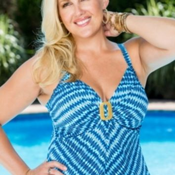 Plus Size Swimwear Coco Reef Wonderland Geo Underwire Tankini Top