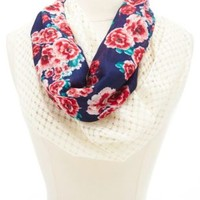 Crochet & Floral Print Infinity Scarf