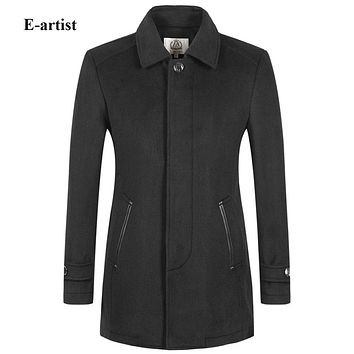 Men's Slim Fit Casual Long Wool Trench Coats Male Winter Warm Jackets Pea coats Outwear Overcoats