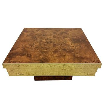 Pre-owned Pierre Cardin Brass and Burl Coffee Table