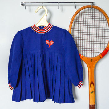 Vintage Tennis Dress / Cute 1960's Blue Wool Pleated Long Sleeve Dress for Girls / Mod Nautical Retro Dress