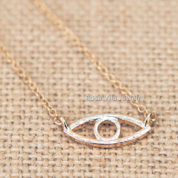 Evil Eye Necklace - gold; dainty, cute and lovely pendant jewelry; line necklace