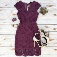 Sleeved Lace Bodycon in Violet