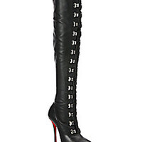 Christian Louboutin - Leather Over-The-Knee Corset Boots - Saks Fifth Avenue Mobile