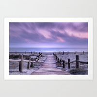 """To the beach...."" Purple sunset Art Print by Guido Montañés"