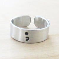Semicolon Alloy handstamped ring Silver plated rings inspirational motivational jewelry recovery gift suicide awareness YLQ0342