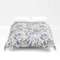 Purple and Green Watercolor Botanicals Duvet Cover by DazzetteMarie