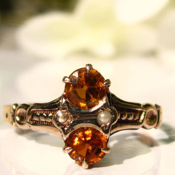 Antique Engagement Ring Seed Pearl and Twin Orange Colored Glass Navette Ring 10K Yellow Gold Antique Wedding Ring Vintage Promise Ring!