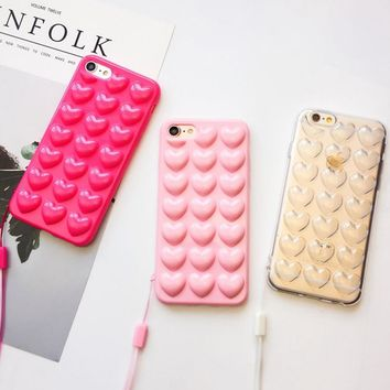*online exclusive* cute candy color 3d heart phone cases for iphone