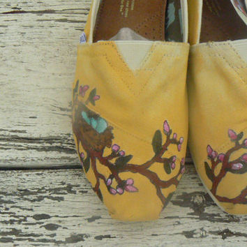 Custom hand painted TOMS cherry blossom nest by solereflections