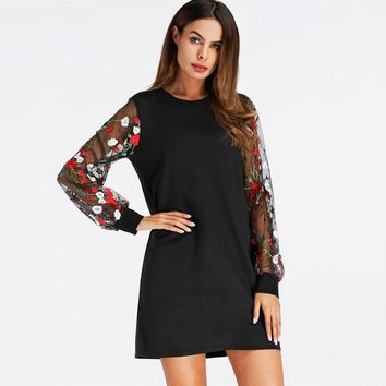 Floral Embroidery Lantern Sleeve Dress