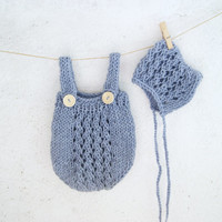 Blue Hand Knit Baby Romper and Bonnet Set / Knitted Baby Outfit / Newborn Photo Prop / Baby Overall Set / Baby Onesuit