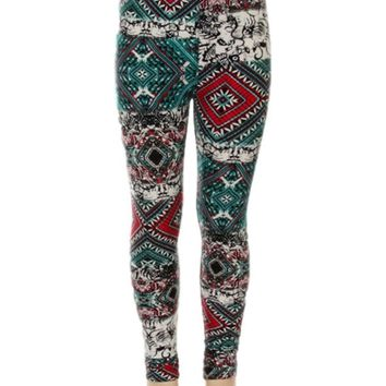 Girls fleece diamond Tribal Leggings ,teal