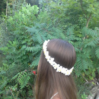 White cherry blossom crown , Cherry Blossom headband, Bridal Crown, tropical Flower Headband, Boho , Flower halo,  flower girl, hula, haku,