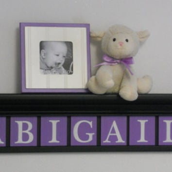 "Unique Baby Gifts - Custom Gift - Black and Purple Baby Girl Nursery Decor 30"" Shelf - 7 Wood Letter Lilac Baby Name Signs - ABIGAIL"