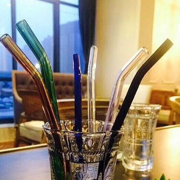 3 x  Sefety Heat-resistant  Glass Straw + 1 x Brush  High Borosilicate Glass Pipet Colored Dots Straight