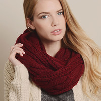 Red Classic Cable-Knit Infinity Scarf | Something special every day