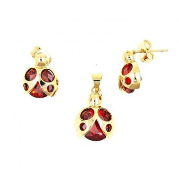 Gold Layered Earring and Pendant Adult Set, Ladybug Design, with Cubic Zirconia, Gold Tone
