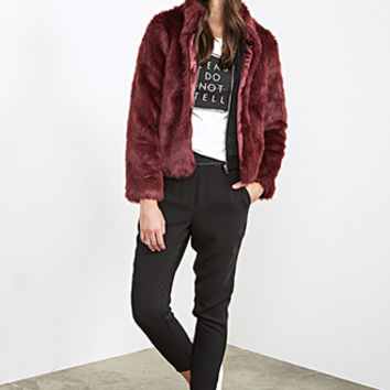 FOREVER 21 Boxy Faux Fur Coat Burgundy