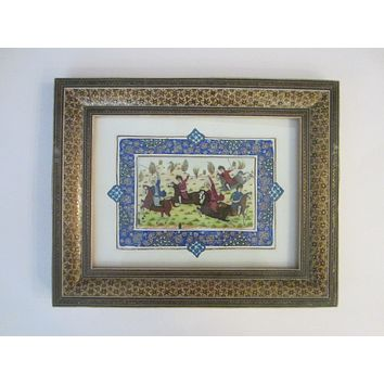 Miniature Signed Equestrian Painting In Khatam Frame Persian Art By Shahang Saz
