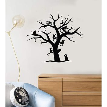 Vinyl Wall Decal Tree Monkeys Animals Kids Room Baby Nursery Art Decor Stickers Mural Unique Gift (ig5096)